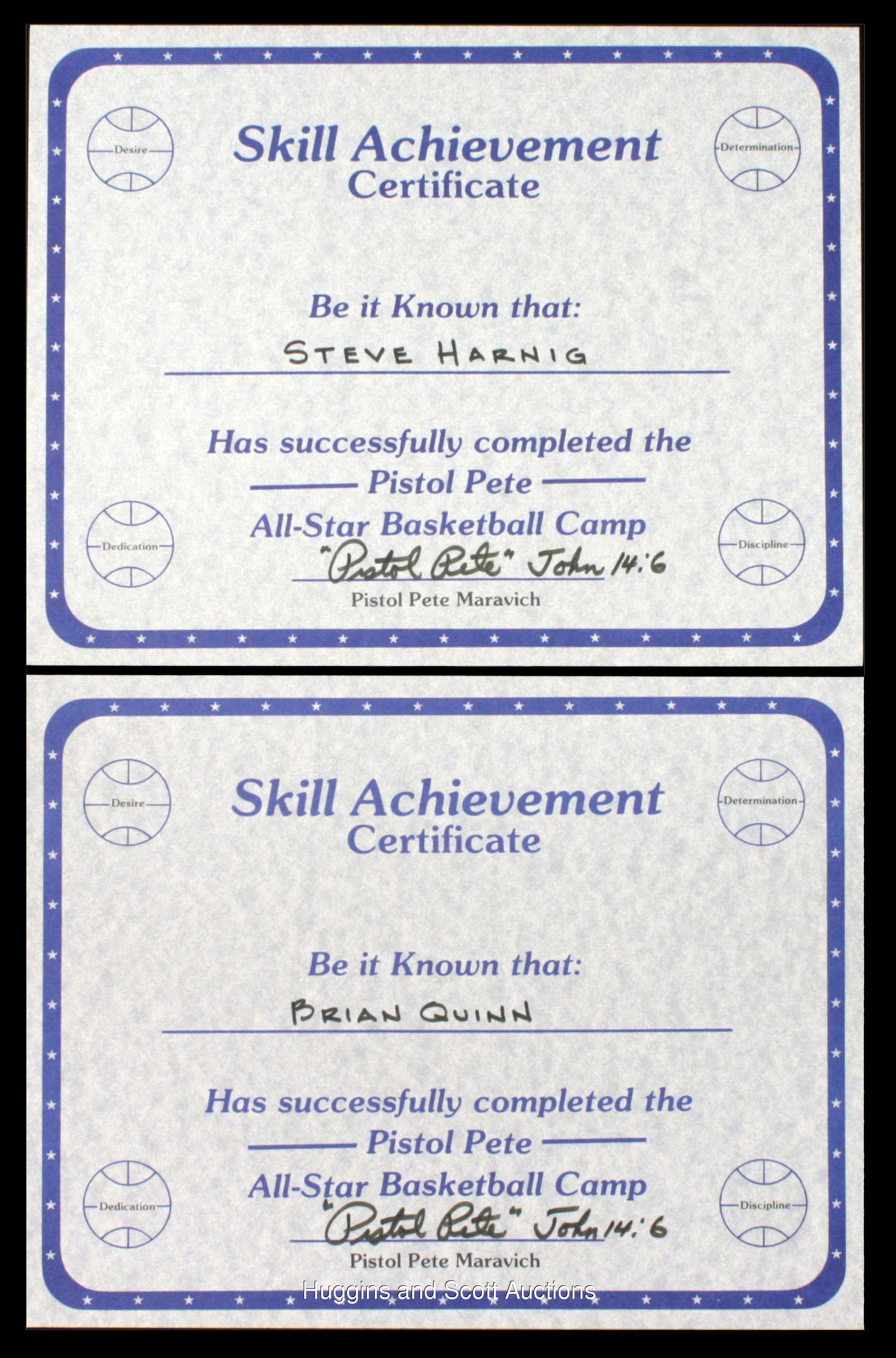 2 Pete Maravich Signed Basketball Camp Certificates Full Psadna